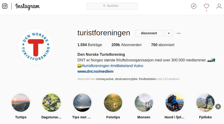 Instagram Norwegen große Accounts